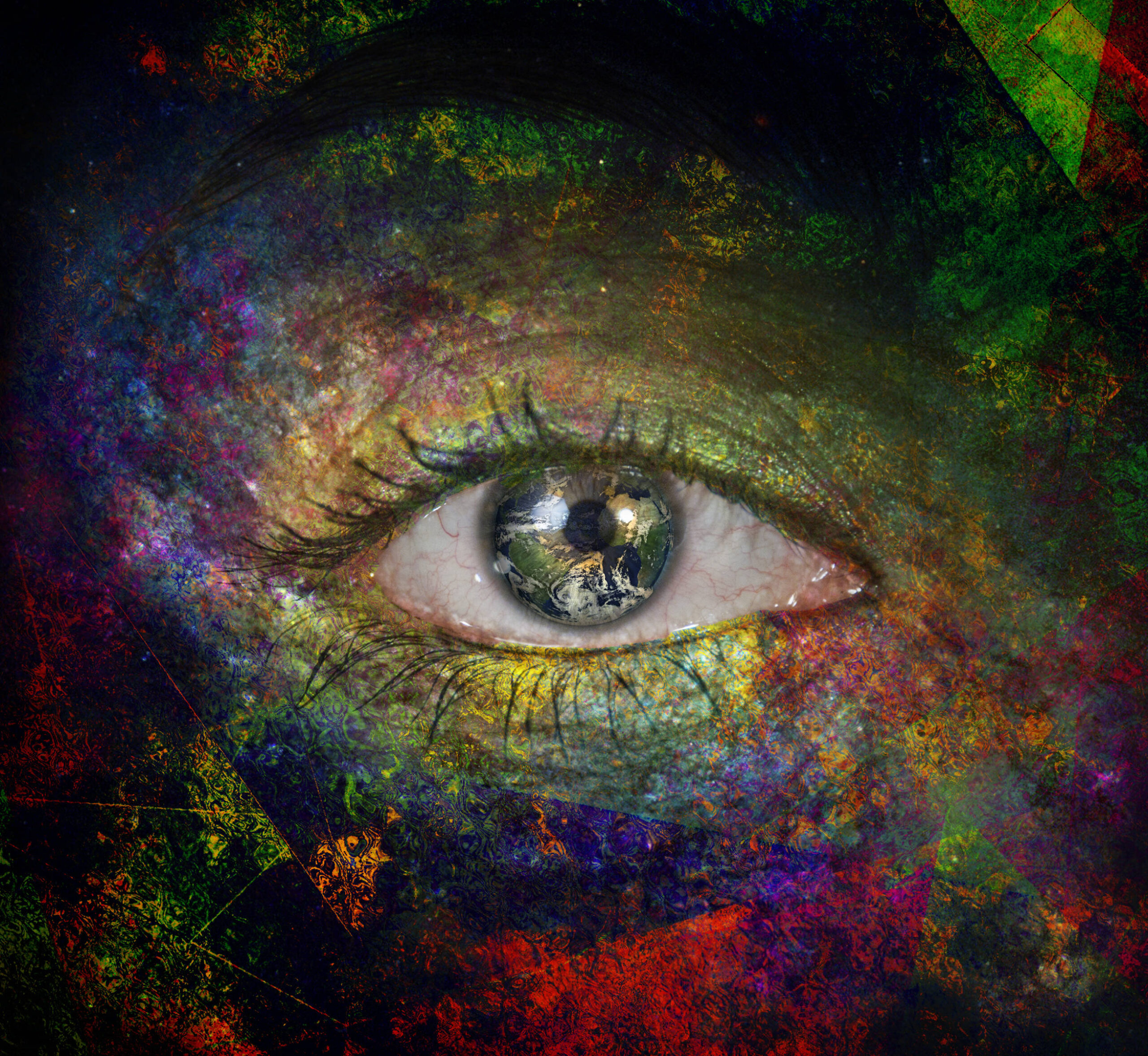 Girls eye with paint and earth